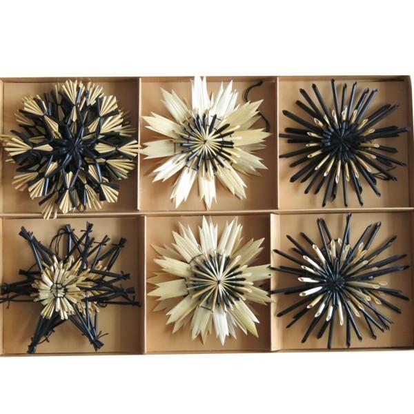 Strohsterne schwarz natur 18 tlg 12 cm Christbaumschmuck