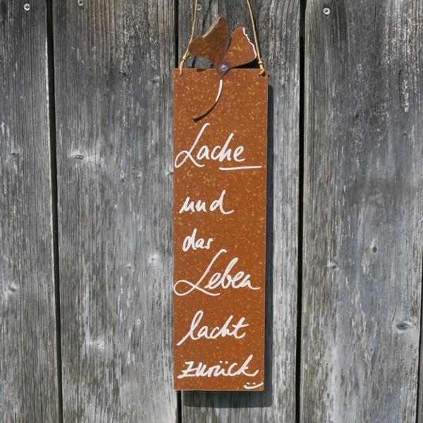 Schild Rost Garten Lache und das Leben lacht zurück Ginkgo