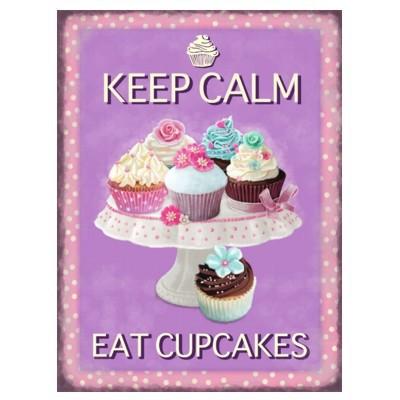 Metallschild Cupcake mittel Keep calm eat Blechschild Muffin Magnettafel