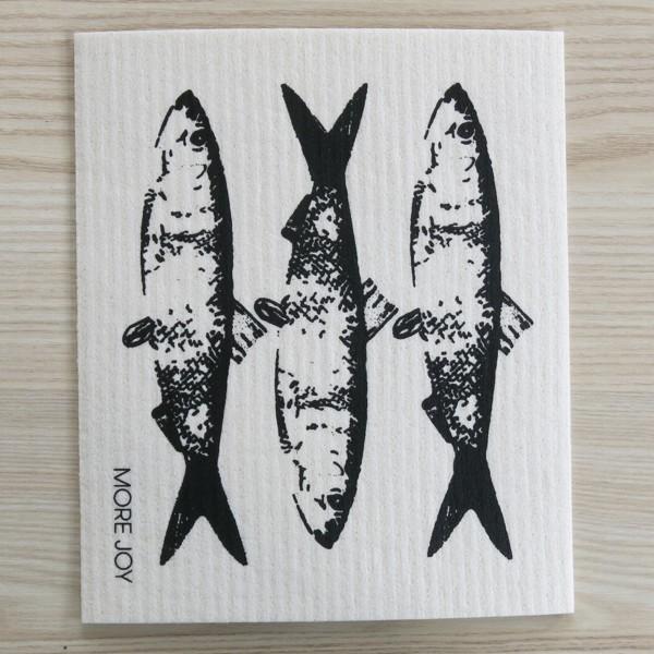 Spüllappen waschbar Fische schwarz More Joy Spültuch NEWSTALGIE