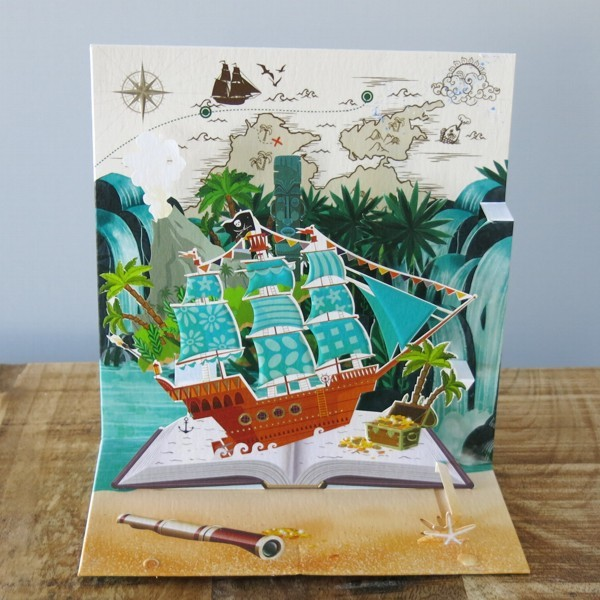 Pop Up Karte Piratenschiff 3 D Geburtstag Schatzinsel