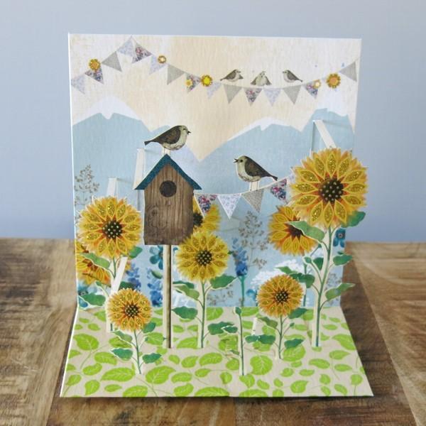 Pop Up Karte Sonnenblumen 3 D Geburtstag Vogelhaus
