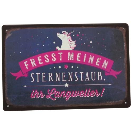 Metallschild Einhorn Fresst meinen Sternenstaub ihr Langweiler Schild Vintage Art