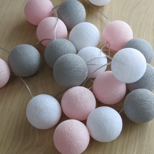 Cotton Ball Lights 35 er Lichterkette rosa grau weiß LED Kugel Bälle Kugeln
