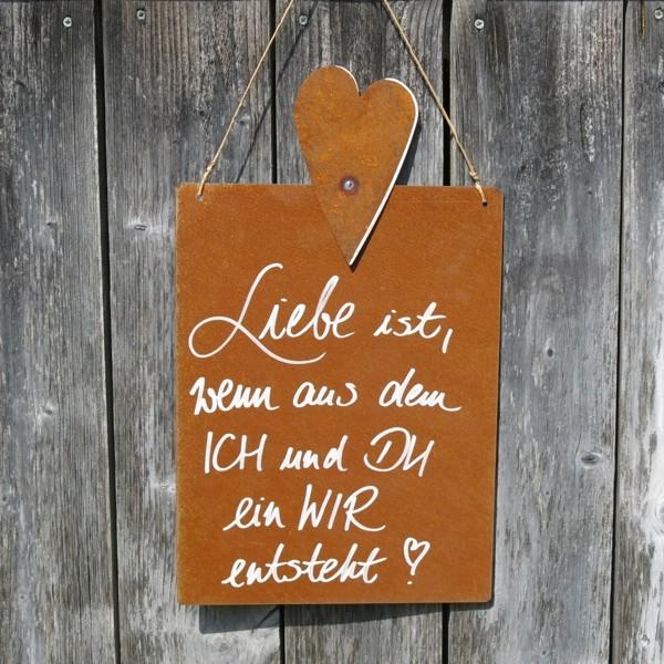 Schild Rost Garten Liebe ist wenn aus ich und du ein wir entsteht Herz