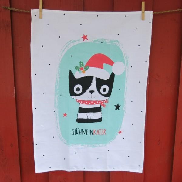 Geschirrtuch Happy Life Glühwein Kater Katze Weihnachten