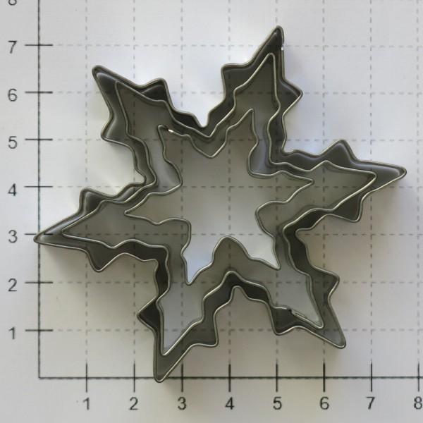 Ausstechform Eiskristall 3 teilig Ausstecher Set 4 cm 6,5 cm 7,5 cm