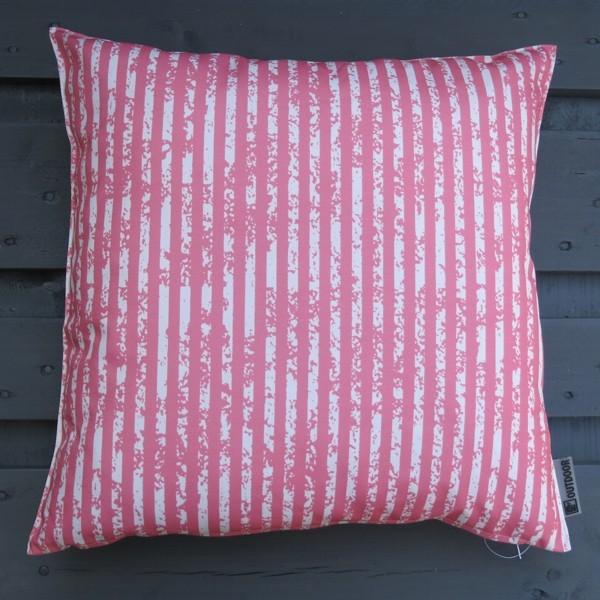 Outdoor Kissen Little stripes rosa dunkel 47 cm Garten für draußen