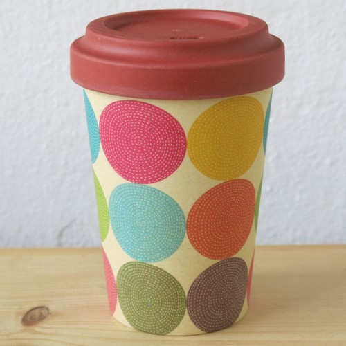 Bamboo Cup Coffee to go Becher Bambus Bright Circles Polka Dots Kreise