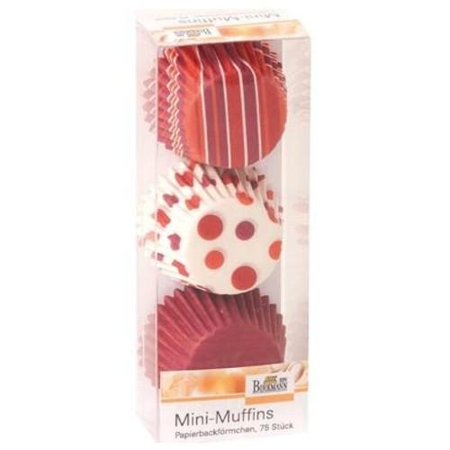 MINI Muffinförmchen Cupcake Papierförmchen Muffin Punkte Streifen rot Birkmann