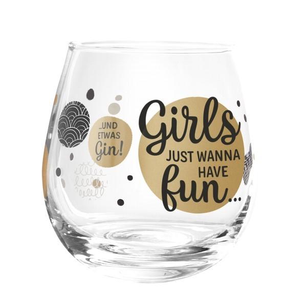 Formano Glas Spruch Girls just wanna have fun und Gin Cocktailglas