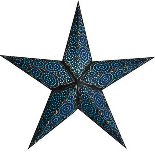 Starlightz Marrakesh black turquoise Leuchtstern schwarz türkis Papier Stern Lampe Weihnachtsstern