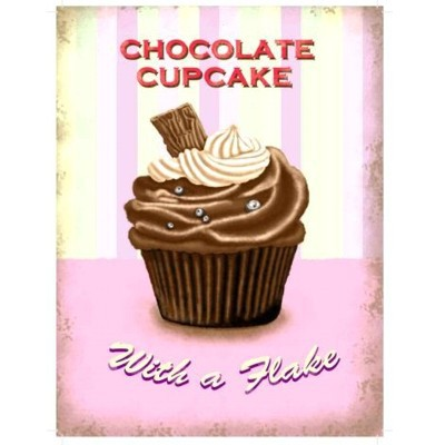 Metallschild Cupcake groß Schokolade Blechschild Muffin Magnettafel