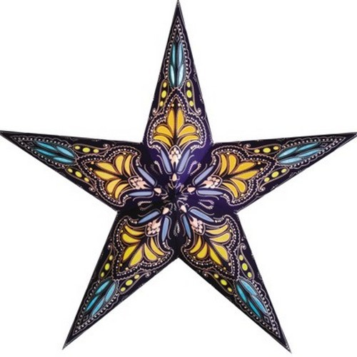 Starlightz Jaipur blau gelb Leuchtstern Papier Stern Lampe Weihnachtsstern