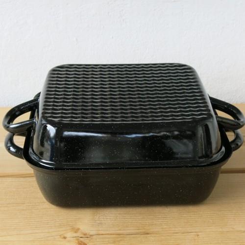 Riess Emaille Bräter mit Deckel schwarz 26 cm Bratreine Auflaufform Email