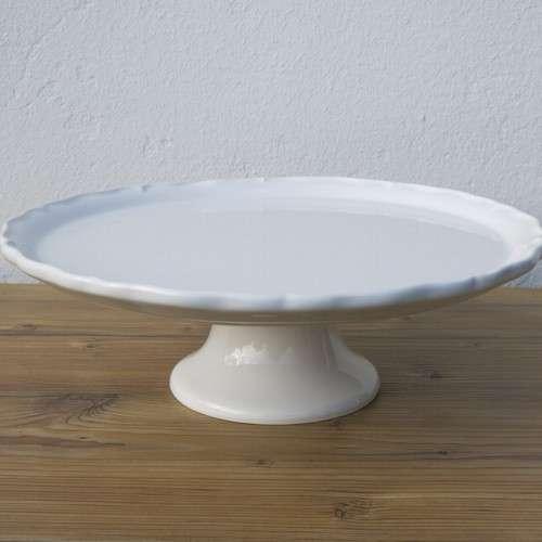 Tortenplatte Auf Fuß 34 Cm Vintage Weiß Keramik Newstalgie