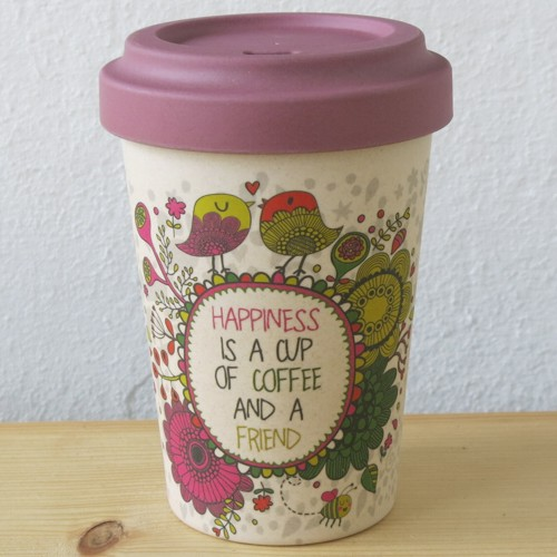 bamboo cup coffee to go becher bambus happiness is a cup of coffee a friend ebay. Black Bedroom Furniture Sets. Home Design Ideas