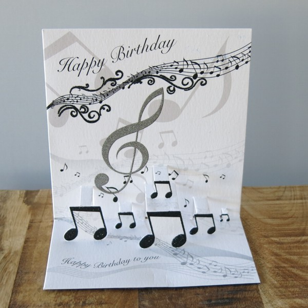 Pop Up Karte Geburtstag Musik Noten Lied 3 D