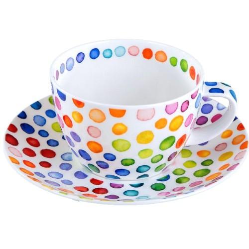 Dunoon Jumbotasse Hot Spots 0,45 l Teetasse Breakfast Cup Porzellan Punkte