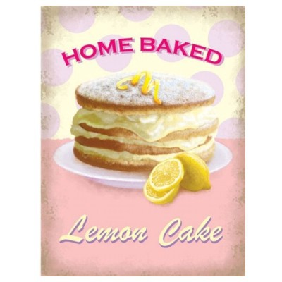 Metallschild Kuchen groß lemon cake Blechschild Magnettafel