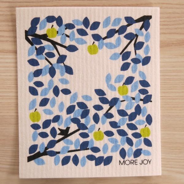 Spüllappen waschbar Apfel Blatt blau More Joy Spültuch NEWSTALGIE