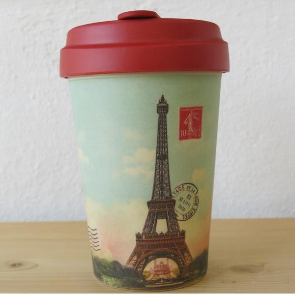 Bamboo Cup Coffee to go Becher Vintage Paris Eiffelturm