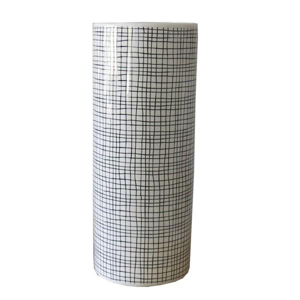 Vase weiß schwarz Grafik 31 cm Blumenvase Keramik
