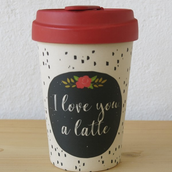 Bamboo Cup Coffee to go Becher I love you a latte Bambus Kaffeebecher