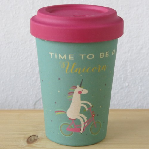 Bamboo Cup Coffee to go Becher Bambus Time for Unicorns Einhorn