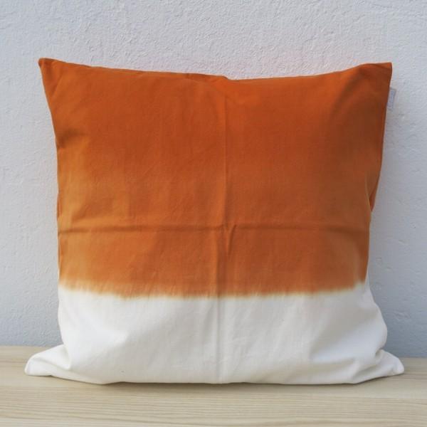 Linum Kissenhülle Dip DYE orange weiß Farbverlauf Kissen 50 x 50 cm