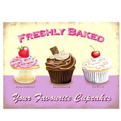 Metallschild Cupcake mittel Erdbeere Schokolade Vanille Blechschild Muffin Magnettafel