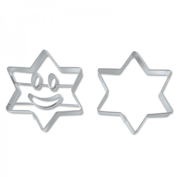 Ausstechform Stern lachendes Gesicht 5,5 cm Ausstecher Set 2 Stück Städter
