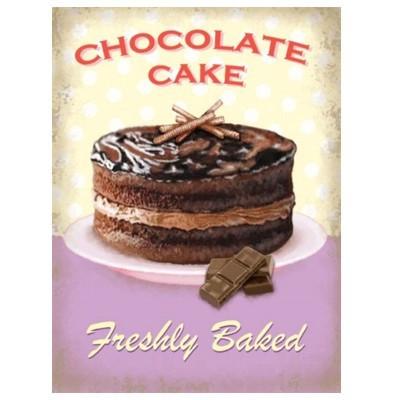 Metallschild Kuchen mittel chocolate cake Blechschild Magnettafel