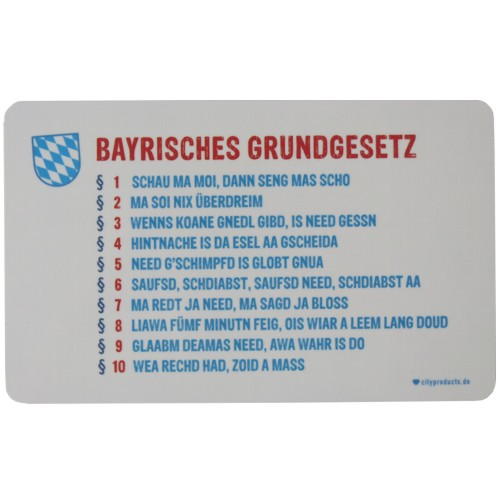 Frühstücksbrettchen Bayrisches Grundgesetz Bayern bayerisches