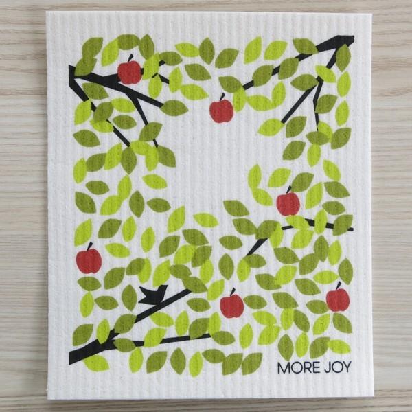 Spüllappen waschbar Äpfel Blätter grün More Joy Spültuch NEWSTALGIE