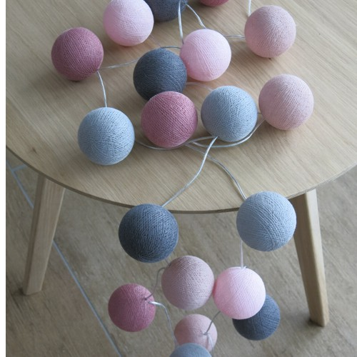cotton ball lights 20 er lichterkette rosa altrosa grau b lle led kugeln ebay. Black Bedroom Furniture Sets. Home Design Ideas