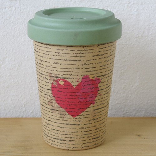 bamboo cup coffee to go becher love letters herz bambus ebay. Black Bedroom Furniture Sets. Home Design Ideas