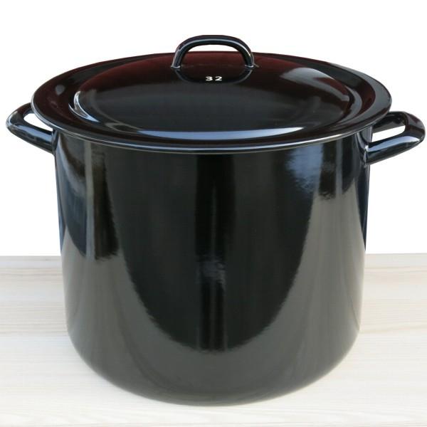 Riess Emaille Topf schwarz hoch 32 cm Riesen Zwerge Kochtopf mit Deckel