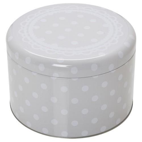 Plätzchendose Cake Couture Punkte grau weiß Keksdose Dose Blechdose Gebäckdose Ø 15 cm Birkmann