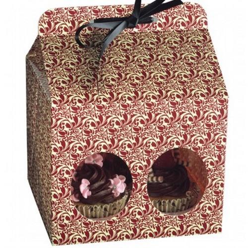 Cupcake Box für 4 Muffin 5er Set Flora Schachtel Geschenkbox Kaiser