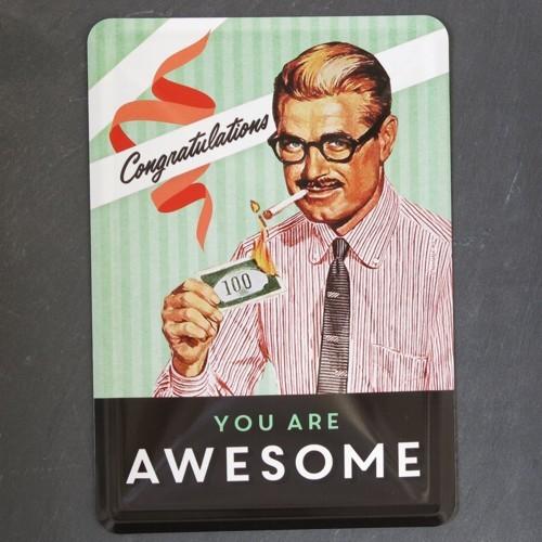 Nostalgic Art Blechpostkarte You are awesome Congratulations Postkarte Metall