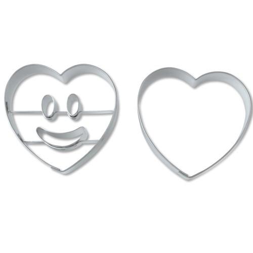 Ausstechform Herz lachendes Gesicht 5,5 cm Ausstecher Set 2 Stück Städter