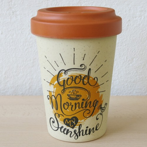 Bamboo Cup Coffee to go Becher Good Morning Sunshine