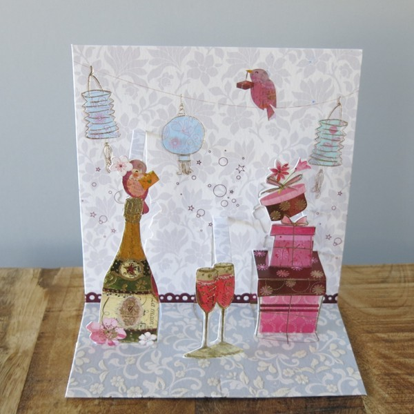 Pop Up Karte Geburtstag Feier Party 3 D Sekt Glas Geschenke
