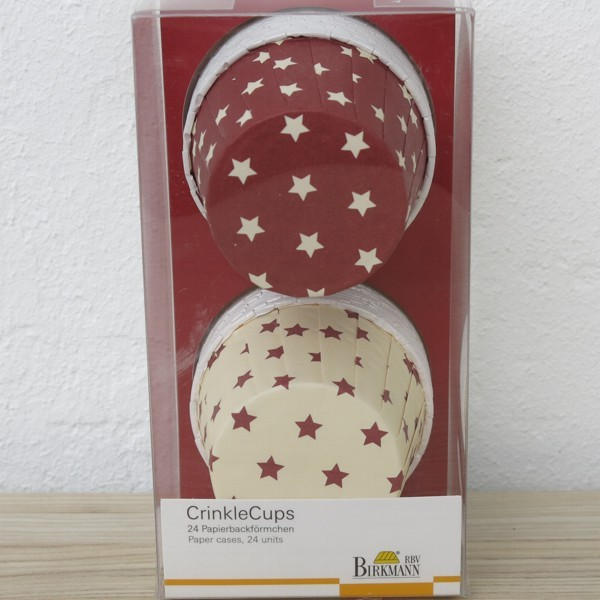 Muffinförmchen Cupcake Papier Cups Crinkle Sterne Star 24 Stück Birkmann