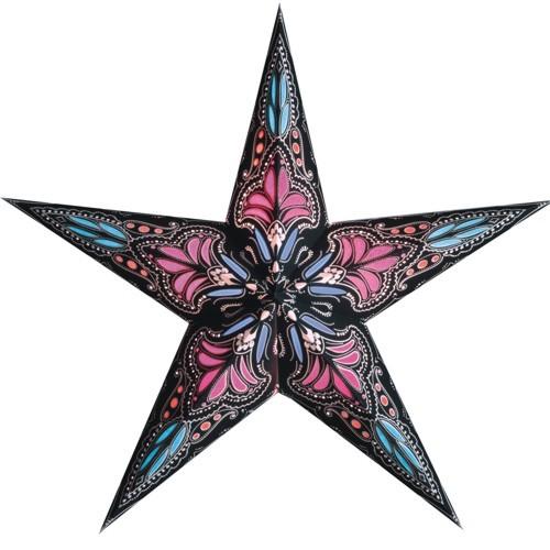Starlightz Leuchtstern Jaipur schwarz pink Stern Papier Faltstern Lampe