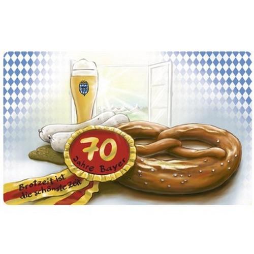 Frühstücksbrettchen 70 Jahre Bayer Geburtstag Brotzeit ist die schönste Zeit