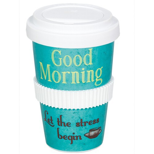 Coffee to go Becher Good Morning Let the stress begin Vintage Art Kaffeebecher