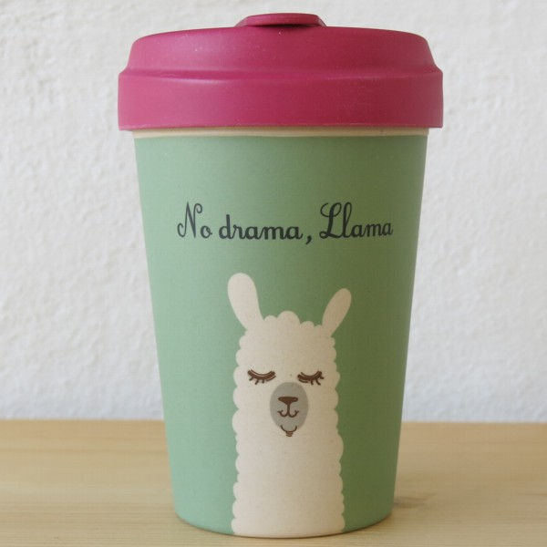 bamboo cup coffee to go becher no drama llama lama bambus kaffeebecher ebay. Black Bedroom Furniture Sets. Home Design Ideas