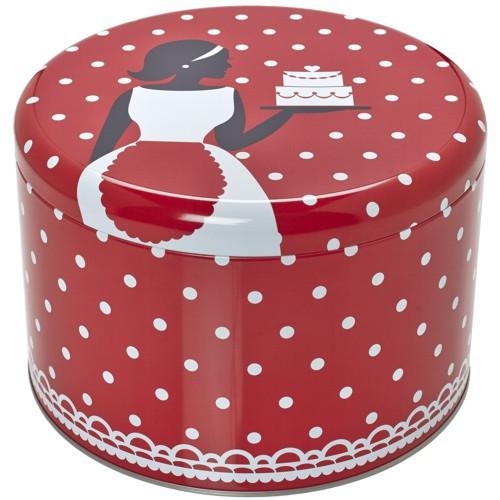 Plätzchendose Cake Couture Punkte rot weiß Keksdose Dose Blechdose Gebäckdose Ø 18 cm Birkmann